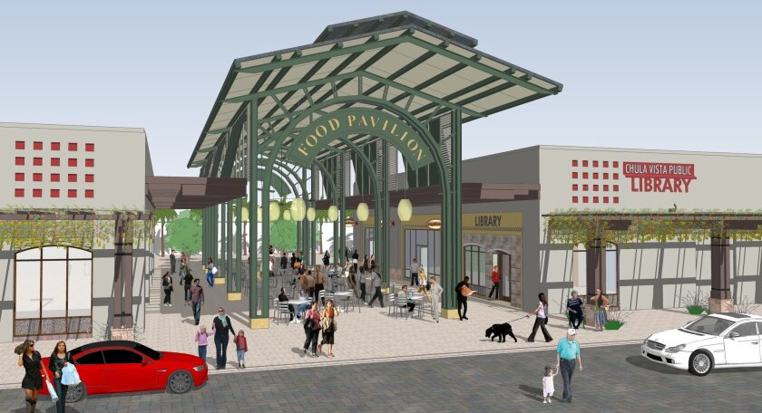 An artist's rendering shows how the new library will look next to the food court in Otay Ranch Town Center.