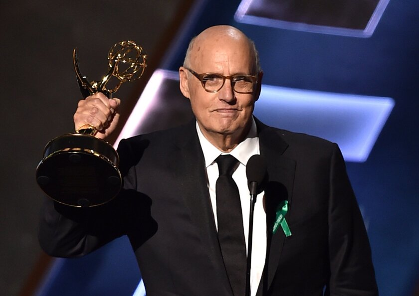 """Jeffrey Tambor wins for """"Transparent"""" at the 67th Primetime Emmy Awards in Los Angeles on Sunday."""