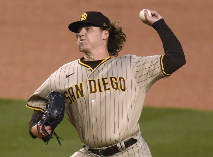 Ryan Weathers pitches against the Dodgers on Thursday night.