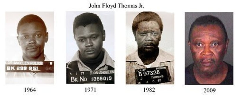This combination of photos released by the Los Angeles Police Department Thursday, April 30, 2009, shows four police photos of suspected serial killer John Floyd Thomas Jr., taken, from left, in 1964, 1971, 1982 and the most recent taken after he was arrested on March 31, 2009. Thomas is suspected of being a prolific serial killer who raped and killed as many as 30 women in waves of attacks that terrorized Southern California decades ago, police said. (AP Photo/Los Angeles Police Department)