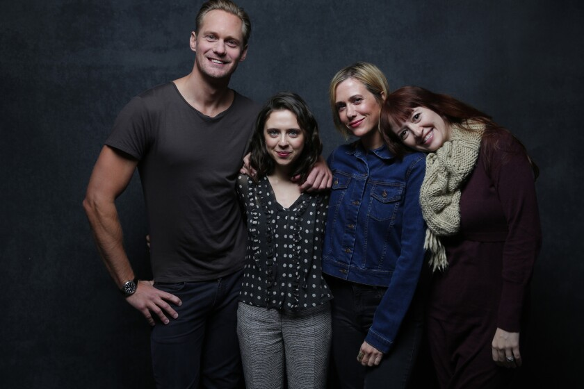 "Actors Alexander Skarsgard, Bel Powley and Kristen Wiig with director Marielle Heller from ""A Diary of a Teenage Girl."""