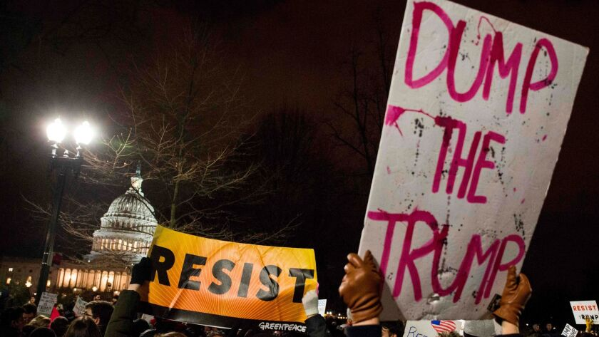 Demonstrators protest against US President Donald Trump and his administration's travel ban in Washington on Jan. 30.
