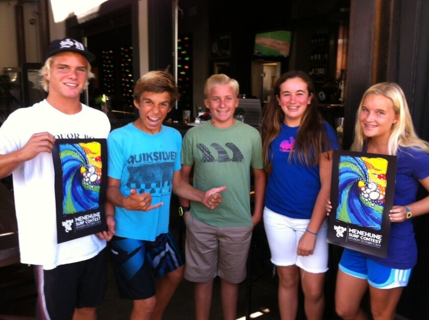 Windansea Surf Club's youth leaders Liam, Lorenzo, Matt, Katy and Maddy show the Menehune Surf Contest poster. The surrealistic image of an inner tube is by designed by Menehune Art Contest winner Cynthia Rosas and will be used on the event's program, posters, flyers and t-shirts.