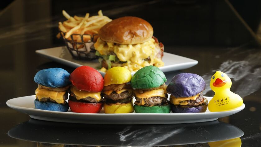 The Sugar Factory's surprisingly satisfying and tasty rainbow sliders — with a take-home rubber duckie — are ready for their Instagram close-up. The Big Cheesy Monster Burger, served with French bistro-quality crispy fries, is really over-the-top and really good.
