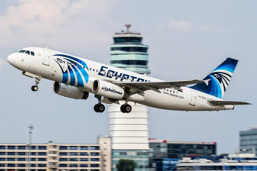 FILE -- This August 21, 2015 file photo shows an EgyptAir Airbus A320 with the registration SU-GCC taking off from Vienna International Airport, Austria. Egypt's Civil Aviation Ministry said Wednesday, June 1, 2016 that a French ship has picked up signals from deep under Mediterranean Sea, presumed
