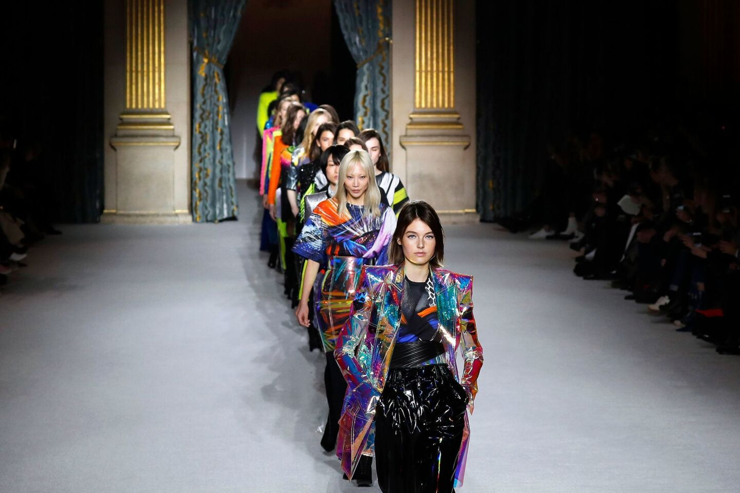 The finale of the Balmain fall/winter runway show at Paris Fashion Week on March 2.