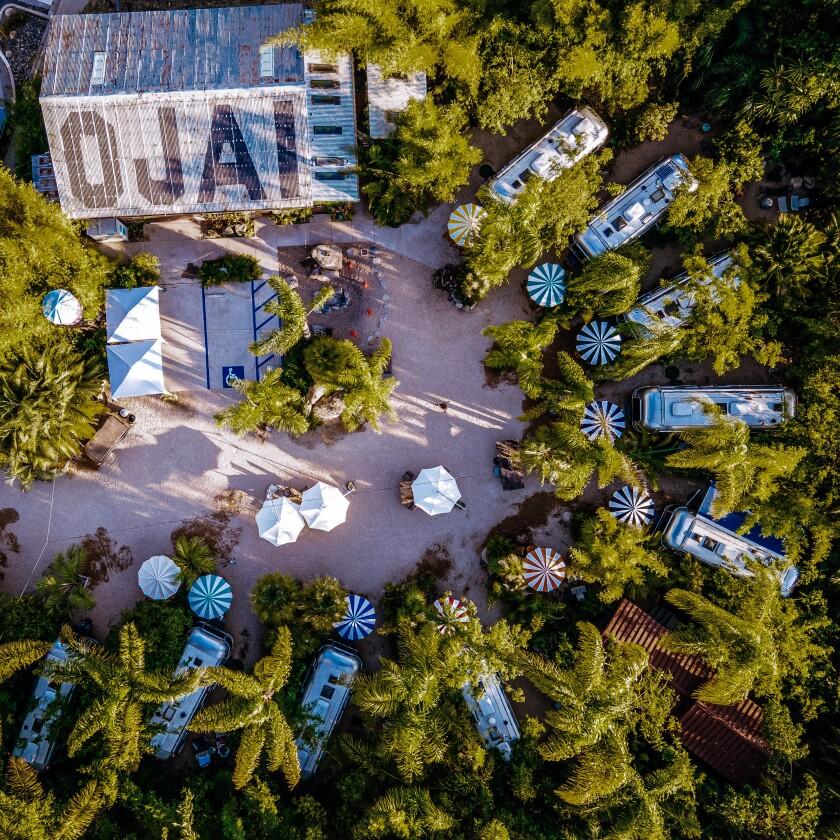 The trailers at Caravan Outpost in Ojai, CA.
