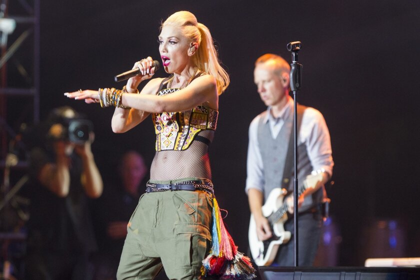 Gwen Stefani is shown performing with No Doubt at the first edition of KAABOO Del Mar in 2015.