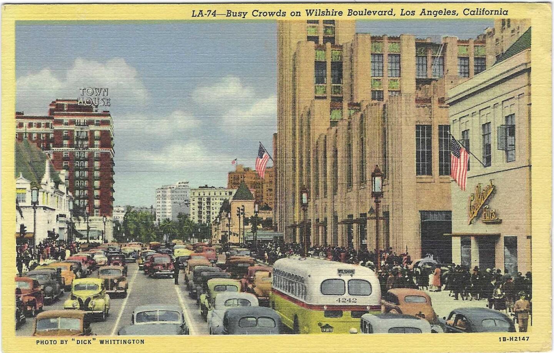 Vintage postcard shows Wilshire Boulevard