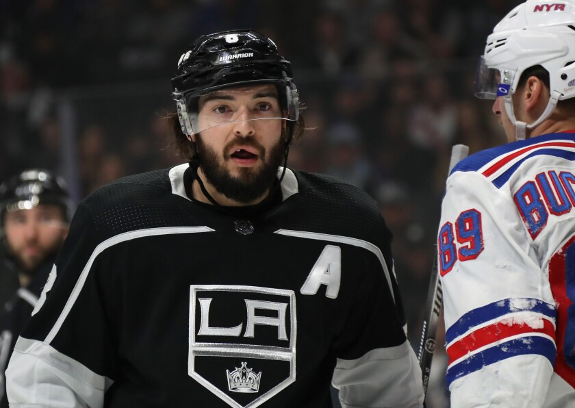 Kings defenseman Drew Doughty looks to the referee during a game against the New York Rangers.