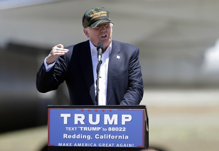 Donald Trump campaigns on June 3 in Redding, Calif.
