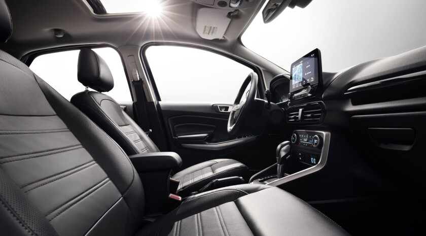 Ford EcoSport Titanium comes standard with premium amenities such as leather seats and a 10-speaker