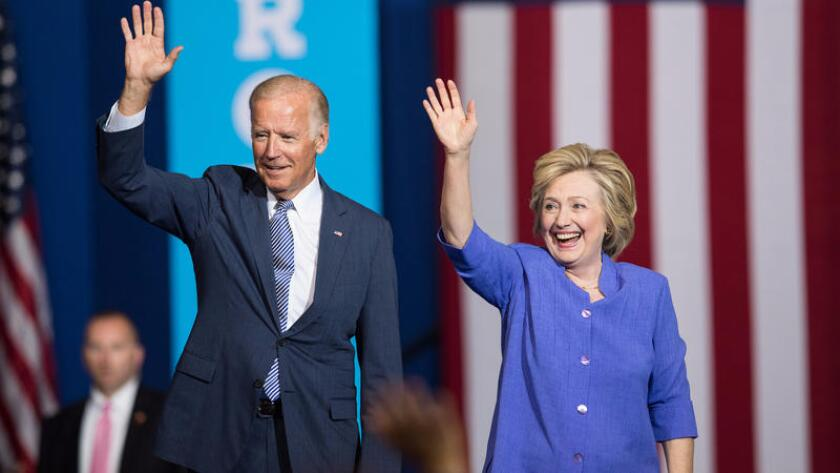 Joe Biden campaigns in 2016 during Hillary Clinton's bid for president.