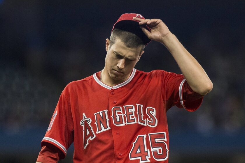 Angels starting pitcher Tyler Skaggs makes his way back to the dugout during a game against the Toronto Blue Jays on May 10, 2014.