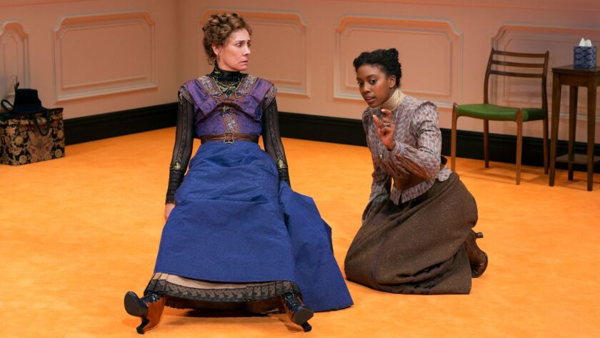 "Laurie Metcalf, left, and Condola Rashad in a scene from ""A Doll's House, Part 2."""