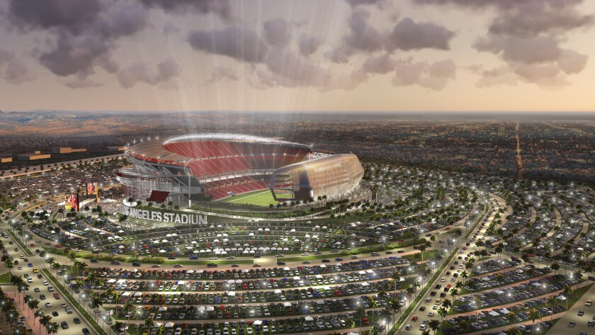 A rendering shows a new NFL football stadium proposed for Carson by the owners of the San Diego Chargers and Oakland Raiders.