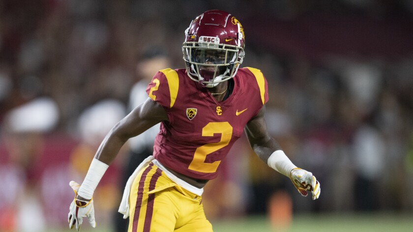 USC cornerback Olaijah Griffin is pictured in the 2019 season against Fresno State.