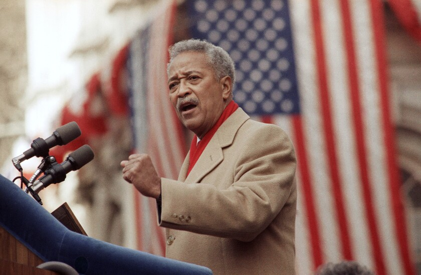 FILE - In this Monday, Jan. 2, 1990, file photo, David Dinkins delivers his first speech as mayor of New York, in New York.
