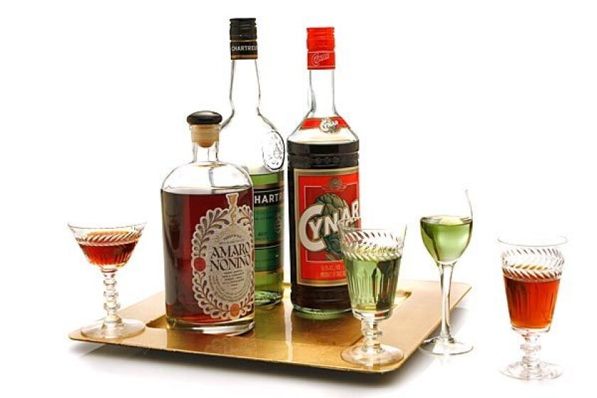 Digestifs include Amaro Nonino, from Italy; Chartreuse, from France; and Cynar, also from Italy.