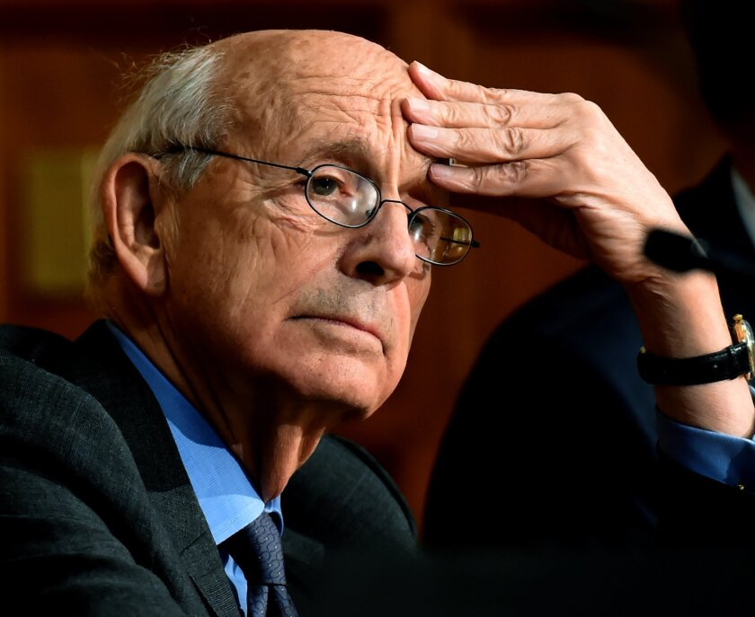 Supreme Court Justice Stephen Breyer pauses before speaking at Yale Law School in New Haven, Conn., Wednesday, Feb. 17,  2016. Breyer's appearance in New Haven comes a few days after the death of Supreme Court Justice Antonin Scalia. Breyer was appointed to the high court in 1994 by then President