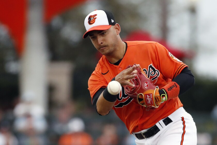 Baltimore Orioles shortstop José Iglesias throws to first base during a spring training game.