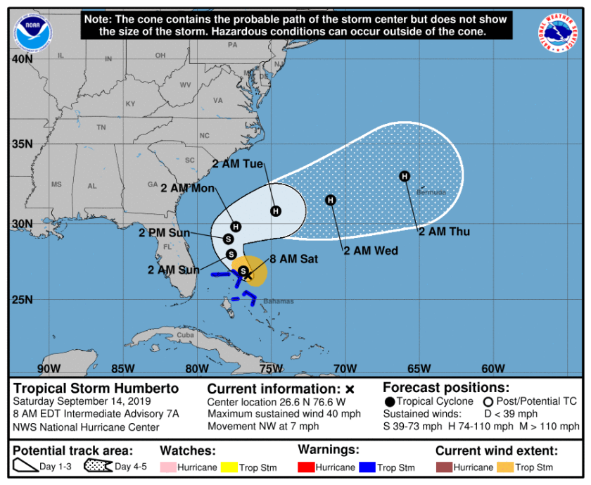 Tropical Storm Humberto cone of uncertainty