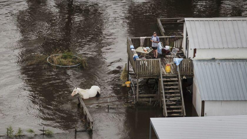 A man barbecues despite floods surrounding his home near Lumberton, Texas.