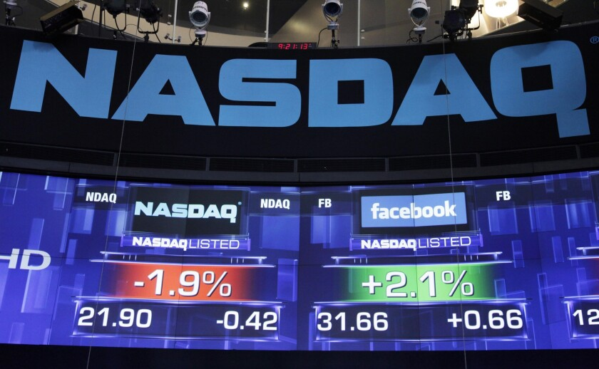 Nasdaq index and stock quotes on an electronic display