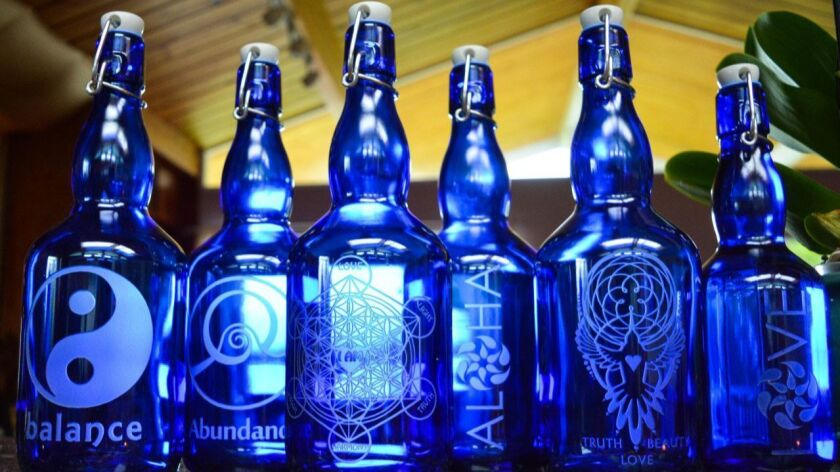 Gratitude blue bottle love glass water bottles Credit: Kayden Radhe / Blue Bottle Love