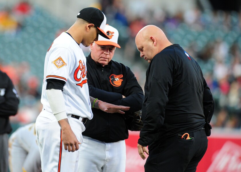 Manny Machado is checked on by assistant trainer Brian Ebel (right) and manager Buck Showalter (center) during a game in 2017.