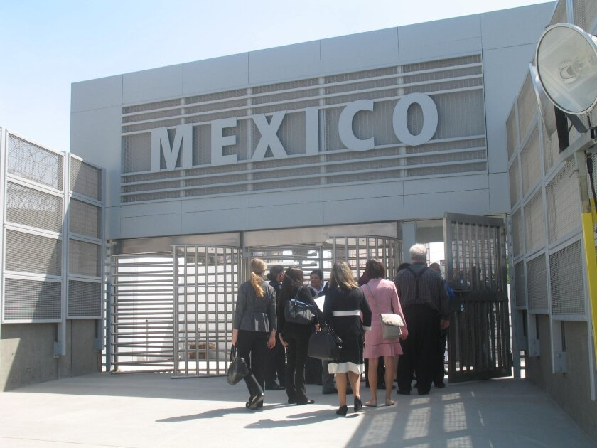 The door to Mexico at San Ysidro's southbound pedestrian crossing. Mexico is preparing to step up immigration inspections when it opens its port of entry.