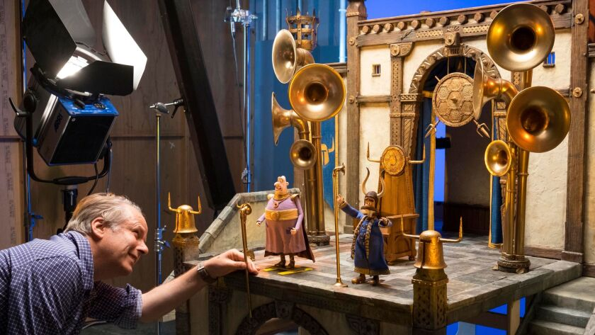 **SNEAKS, JANUARY 14, 2018 STORY. From L to R: Director Nick Park on the set of EARLY MAN.