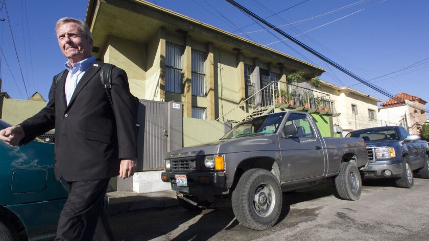 American Bob Morris left his two bedroom apartment in the complex behind him, located in the Gabilondo section of Tijuana, just south of downtown Tijuana, for his daily commute to San Diego.
