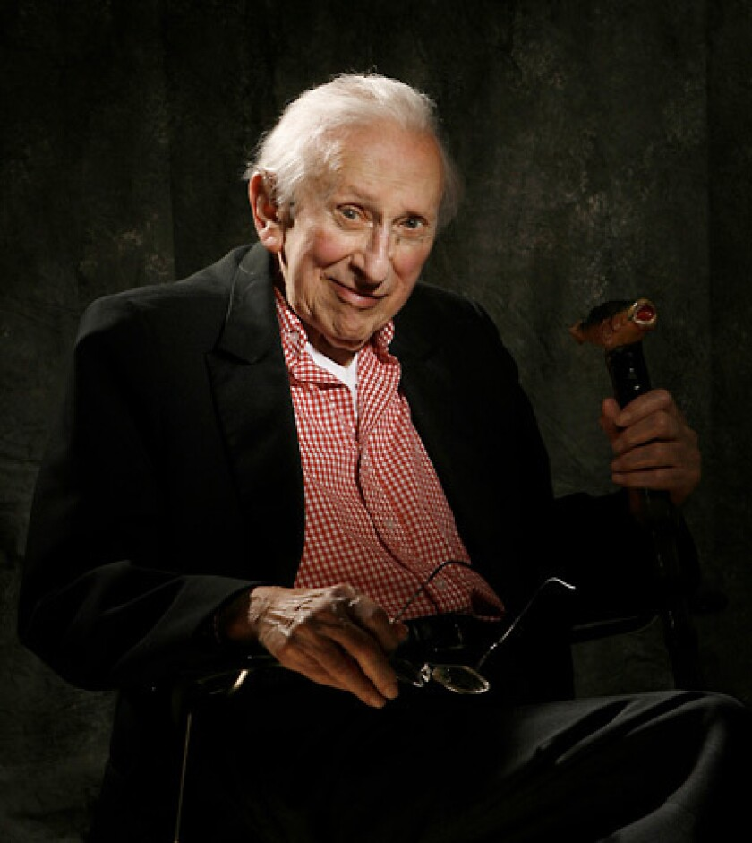 Studs Terkel sits for a portrait to be featured on the cover of the Chicago Tribune Magazine in his home.