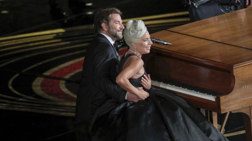 Bradley Cooper and Lady Gaga during the telecast of the 91st Academy Awards in the Dolby Theatre at Hollywood & Highland Center in Hollywood, CA.