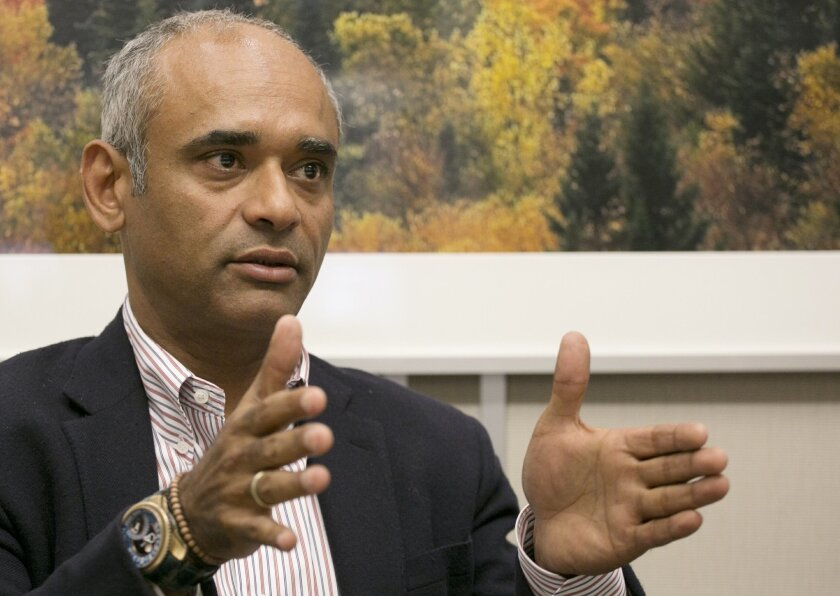 FILE - In this Wednesday, March 26, 2014, file photo, Chet Kanojia speaks during an interview with The Associated Press, in New York. Kanojia, the founder of startup TV service Aereo, has a new offering that could shake up the cable industry again. His new Internet service, Starry, would compete wi