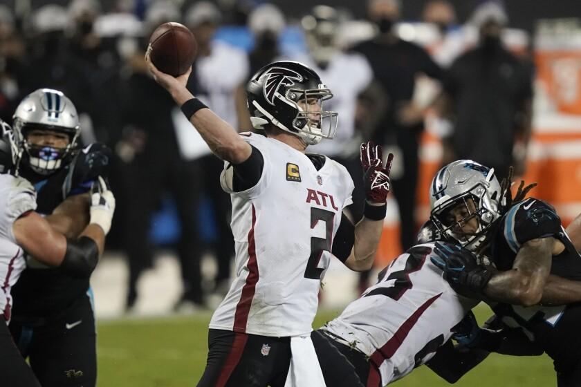 Atlanta Falcons quarterback Matt Ryan passes against the Carolina Panthers.