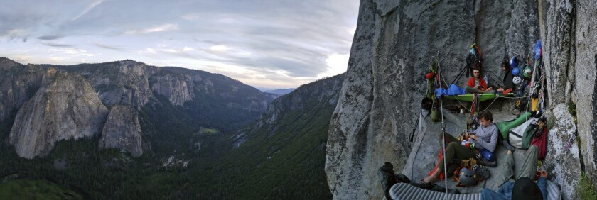 In this undated image released by the U.S. National Park Service climbers camp on a big wall on El Capitan in Yosemite National Park, Calif. The park said Friday, May 7, 2021, it would require climbers to get permits if they spend the night while climbing the granite walls of El Capitan, Half Dome and other iconic granite features. (National Park Service via AP)