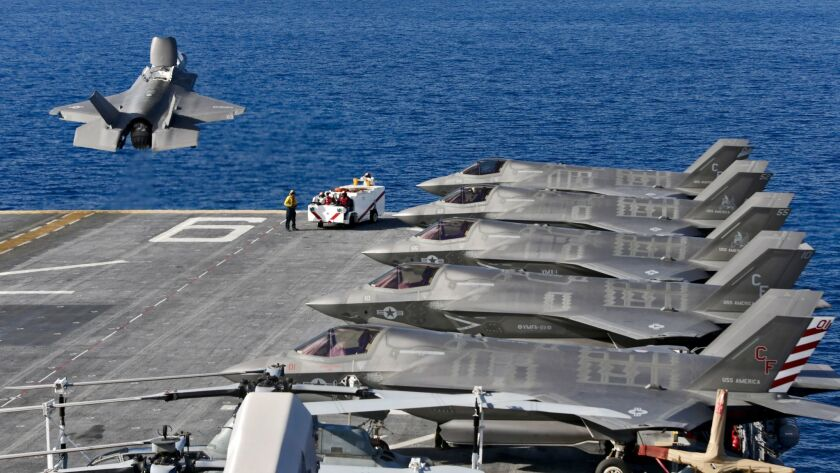 A Lockheed Martin F-35B takes off from the amphibious assault ship USS America in 2016.