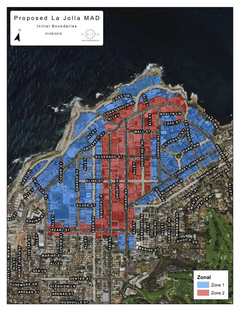 Enhance La Jolla: A map of the proposed Maintenance Assessment District (MAD) for La Jolla. Zone 1, in blue, is residential. Zone 2, in red, is commercial.