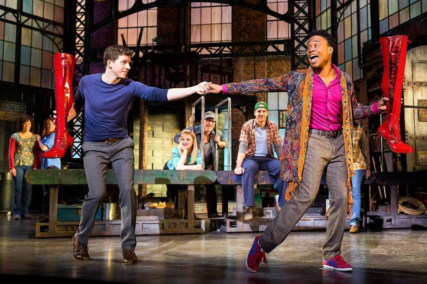 """Stark Sands, Billy Porter, and Annaleigh Ashford, center, in the Broadway production of """"Kinky Boots."""""""