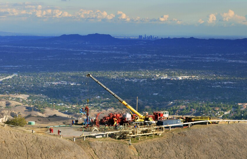 Crews work at Southern California Gas Co.'s Aliso Canyon storage facility near Porter Ranch.