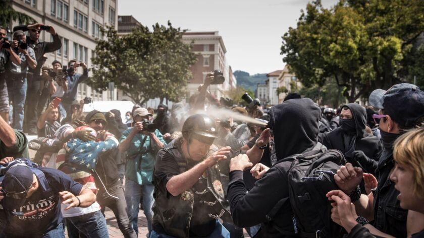 APRIL 15, 2017 BERKELEY, CA Pepper spray is used by someone in the crowd as supporters of President