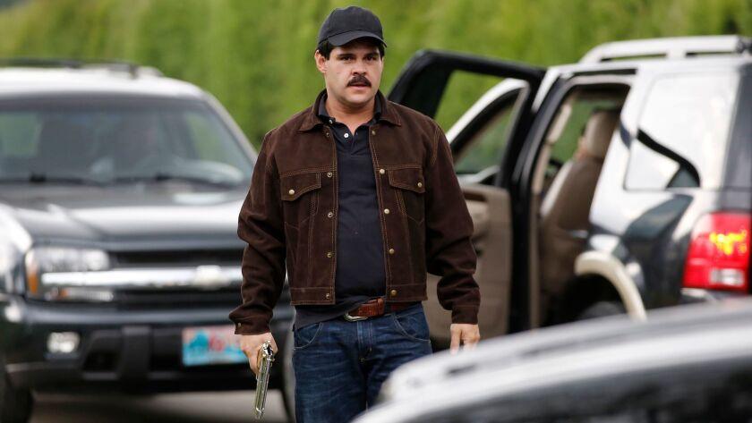 """Mexican actor Marco de la O plays drug trafficker Joaquin Guzman during the filming of """"El Chapo"""" in"""