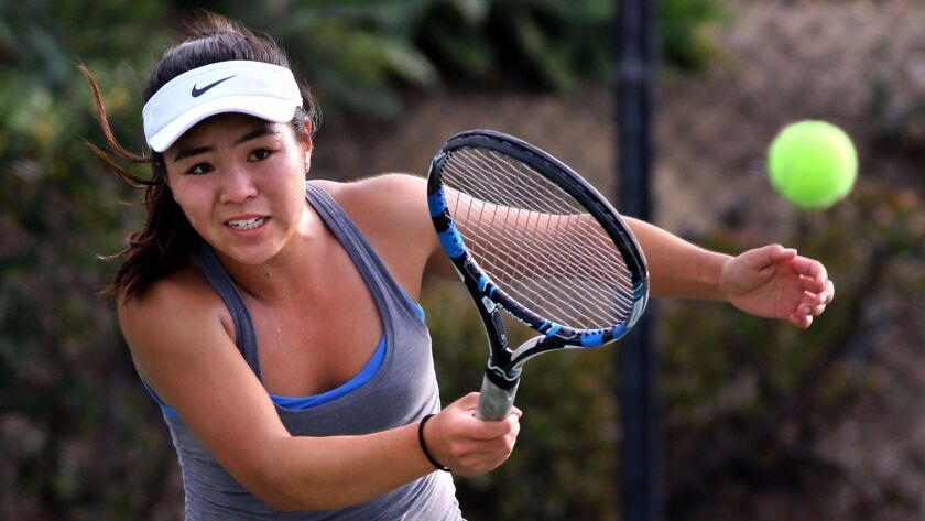 La Jolla junior Alexandra Kuo swept her three singles sets in the Vikings' Division I win over Poway.