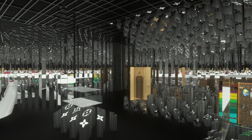 Rendering from the Louis Vuitton X exhibit in Los Angeles, CA.