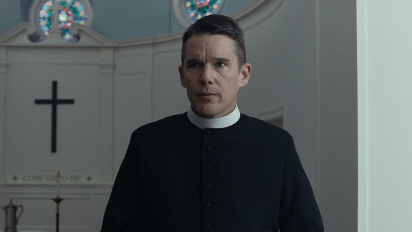 """Ethan Hawke in a scene from """"First Reformed."""" Credit: A24"""