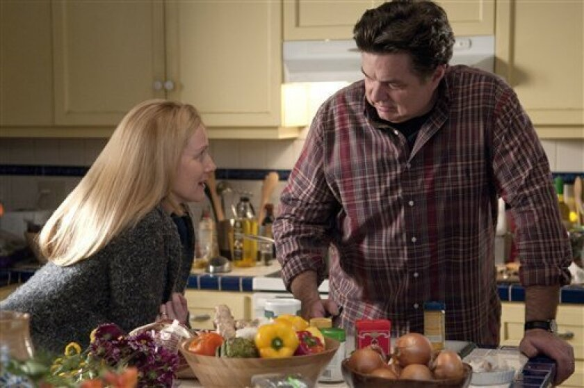 """In this publicity image released by Showtime, Laura Linney as Cathy, left, and Oliver Platt as Paul are shown in a scene from """"The Big C."""" The original series returns for a second season on Monday, June 27, 2011. (AP Photo/Showtime, Ken Regan)"""