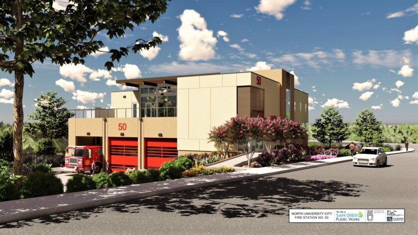 A rendering of San Diego Fire-Rescue Department's Station No. 50. City officials broke ground on the station Thursday in University City. It's expected to be open some time in 2020.