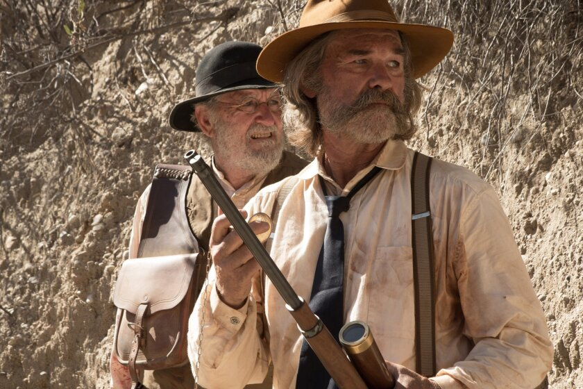 "Richard Jenkins, left, as Chicory and Kurt Russell as Sheriff Franklin Hunt in the western film ""Bone Tomahawk."""